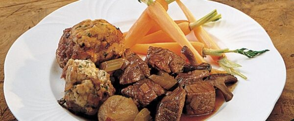 Beef Stew with Mushroom and Herb Dumplings