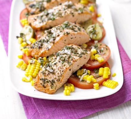 Salmon With New Potato & Corn Salad & Basil Dressing