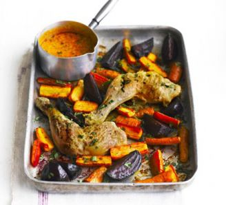 Roast chicken & roots with lemon & poppy seed sauce