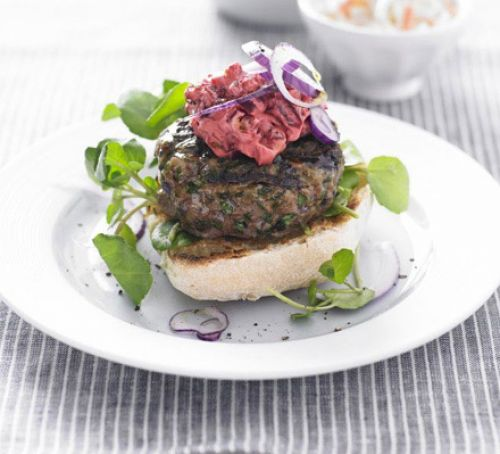 Herby Burgers with Beetroot Mayo