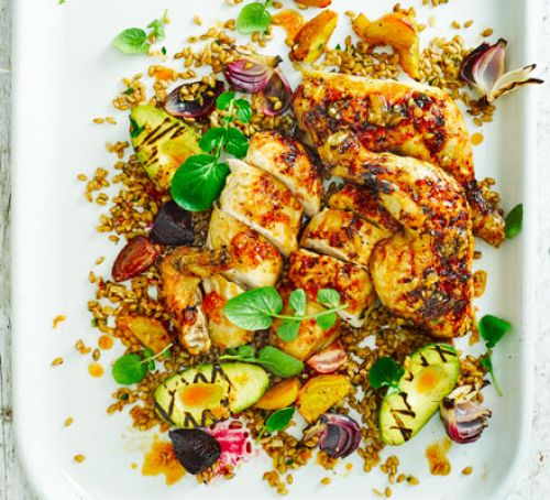 Chicken Salad with Griddled Avocado and Beet