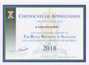 royal regiment certificate