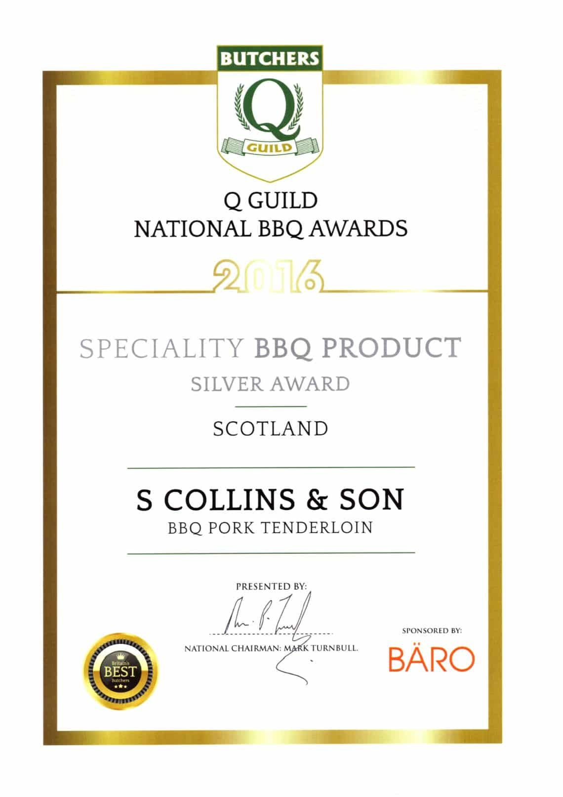 National BBQ Awards 2016: BBQ Pork Tenderloin