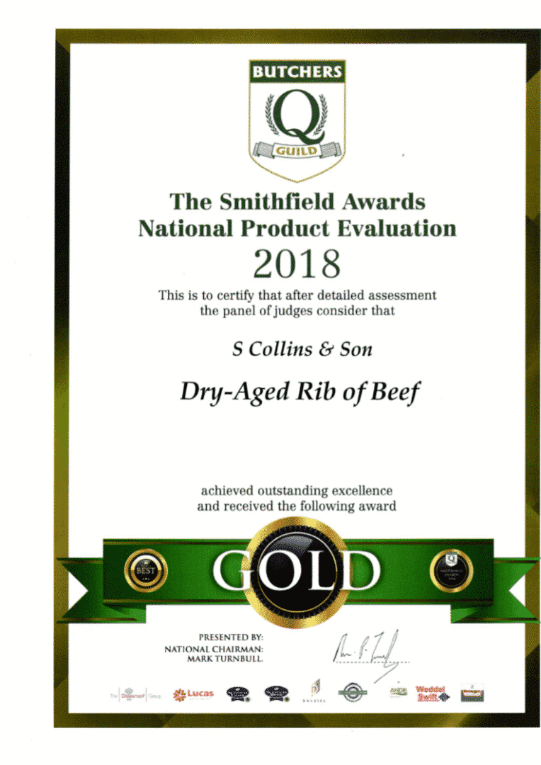 Dry Aged Rib of Beef: Smithfield Awards 2018