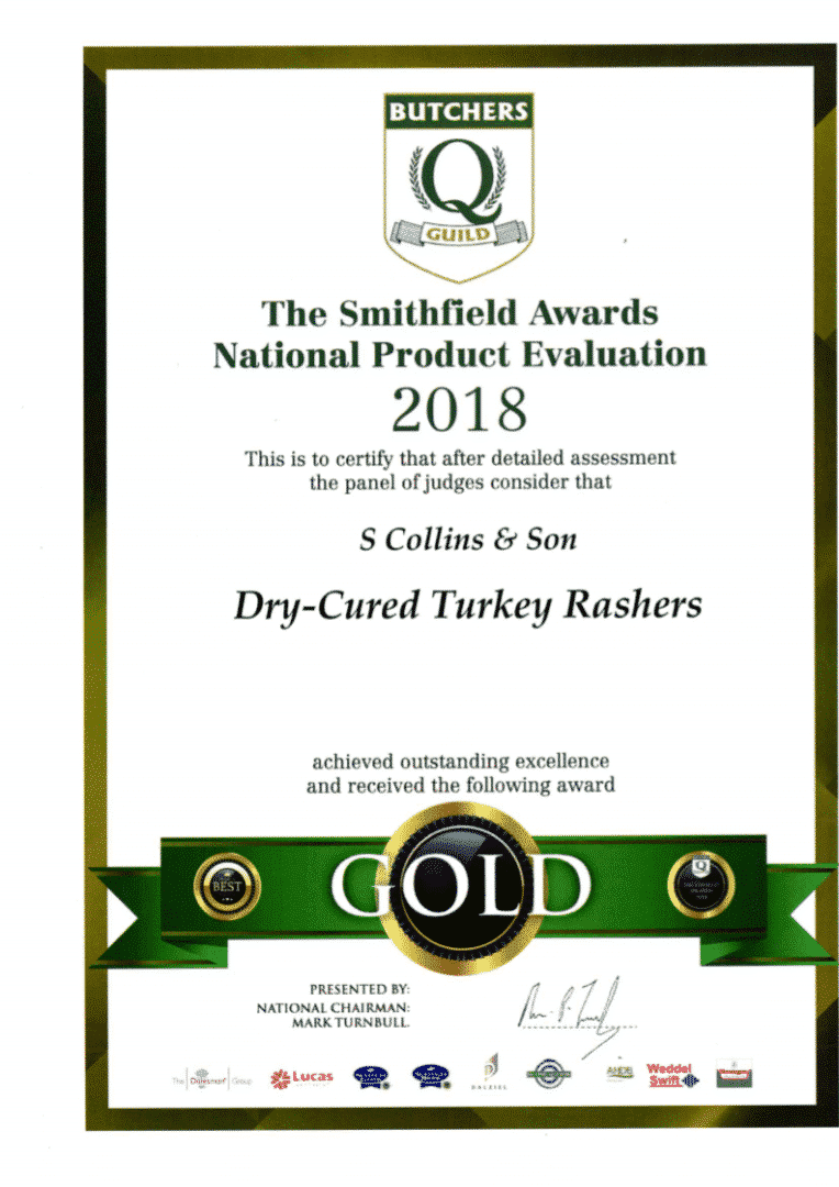 Dry Cured Turkey Rashers: Smithfield Awards 2018