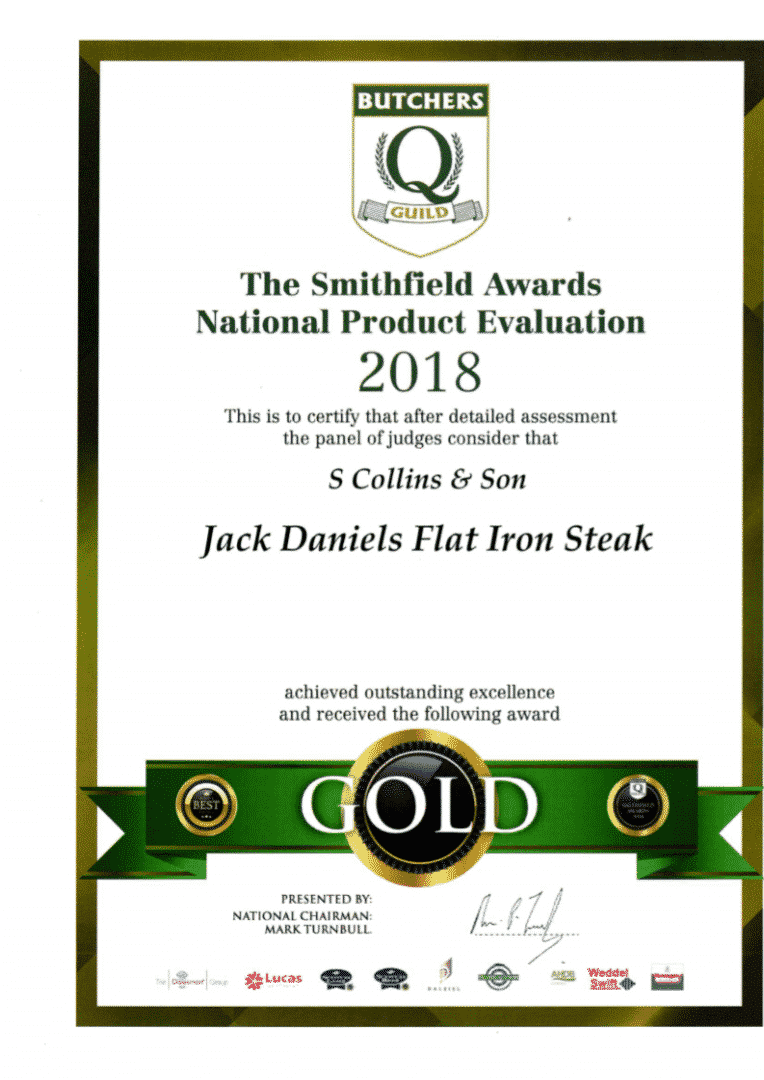 Jack Daniels Flat Iron Steak: Smithfield Awards 2018