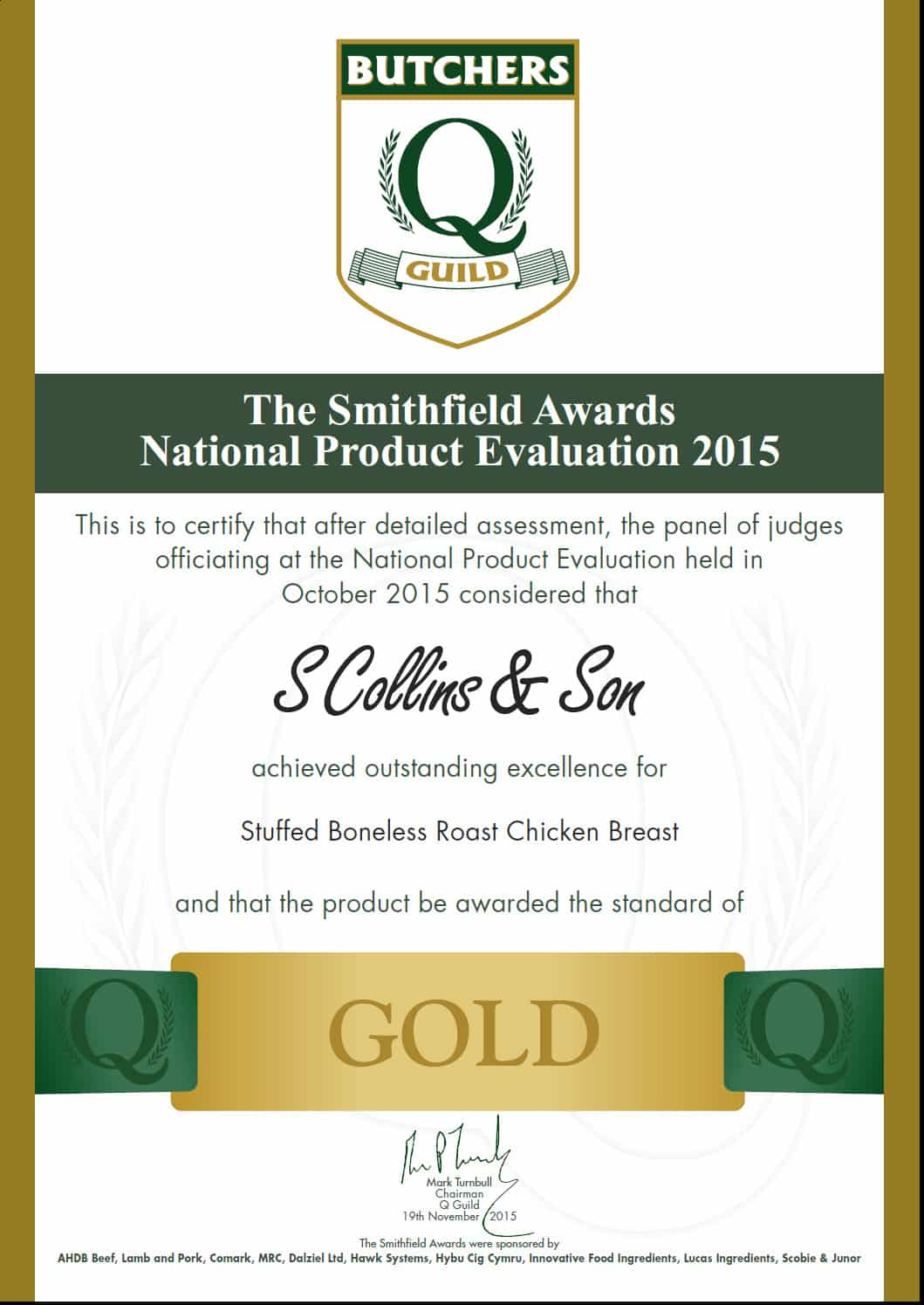 Smithfield Awards 2015: Stuffed Boneless Roast Chicken Breast