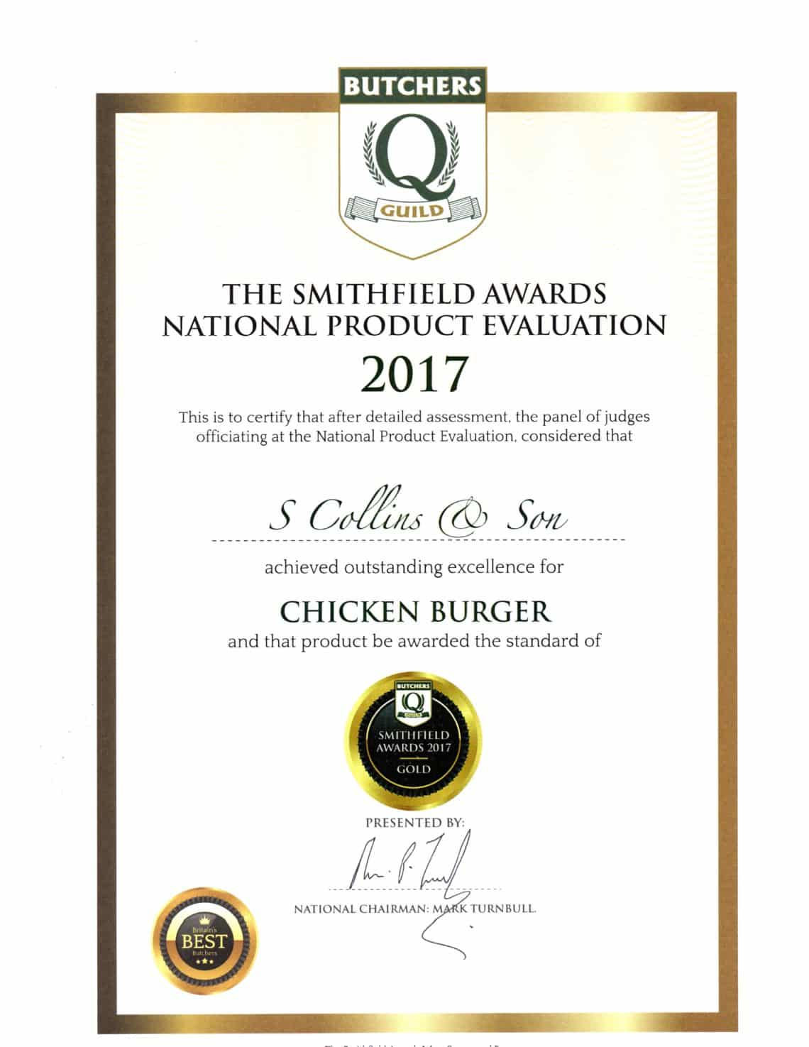 Chicken Burger: Smithfield Awards 2017