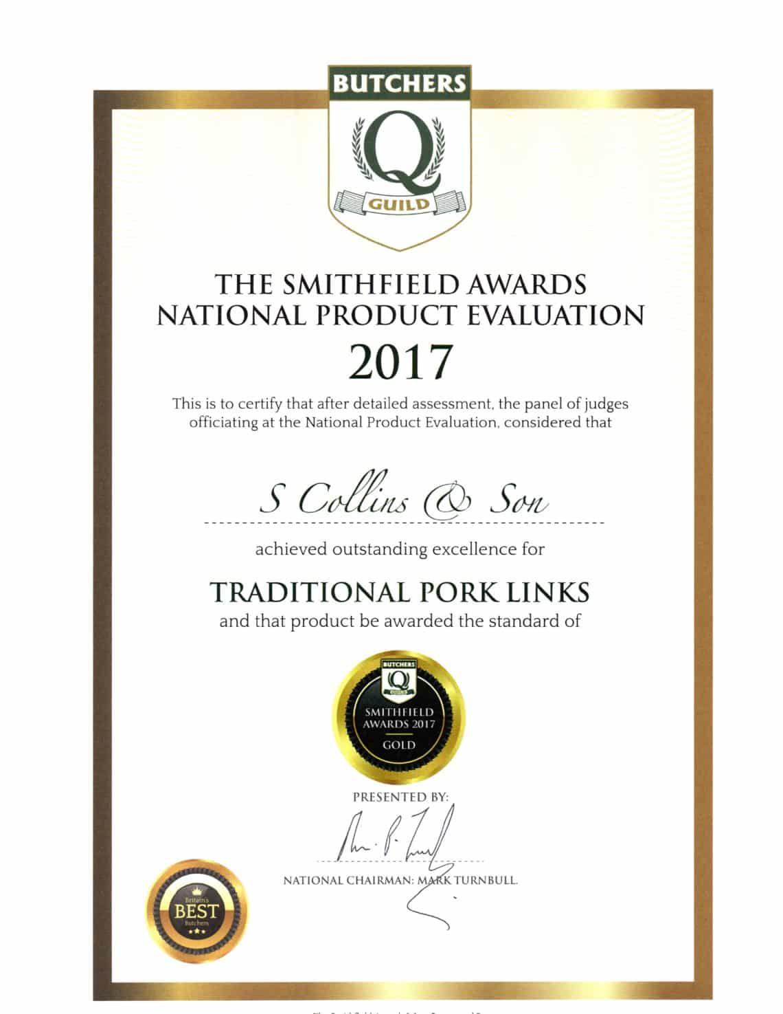 Traditional Pork Links: Smithfield Awards 2017