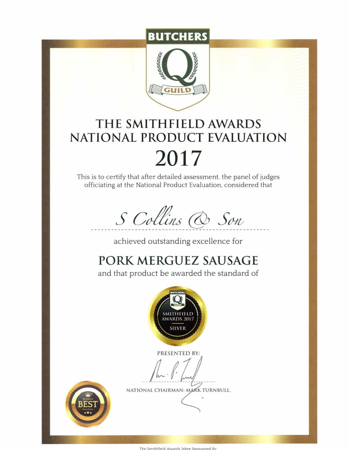 Pork Merguez: Smithfield Awards 2017