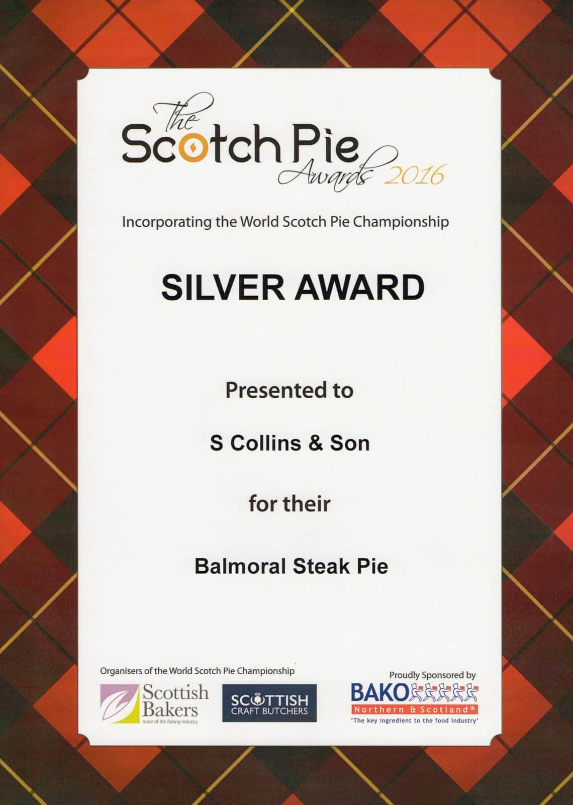 Scotch Pie 2016 Awards: Balmoral Steak Pie