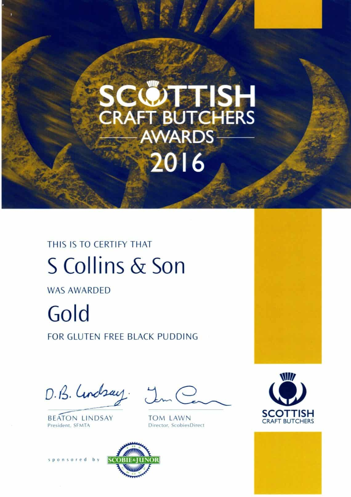 Scottish Craft Butchers 2016: Gluten Free Black Pudding