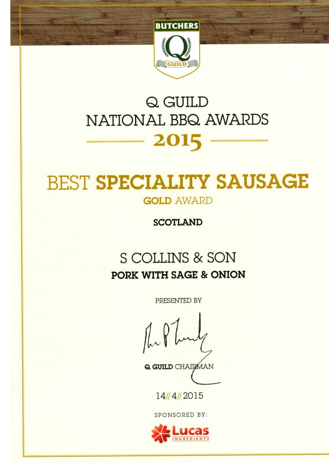 National BBQ Awards 2015: Best Specialty Sausage
