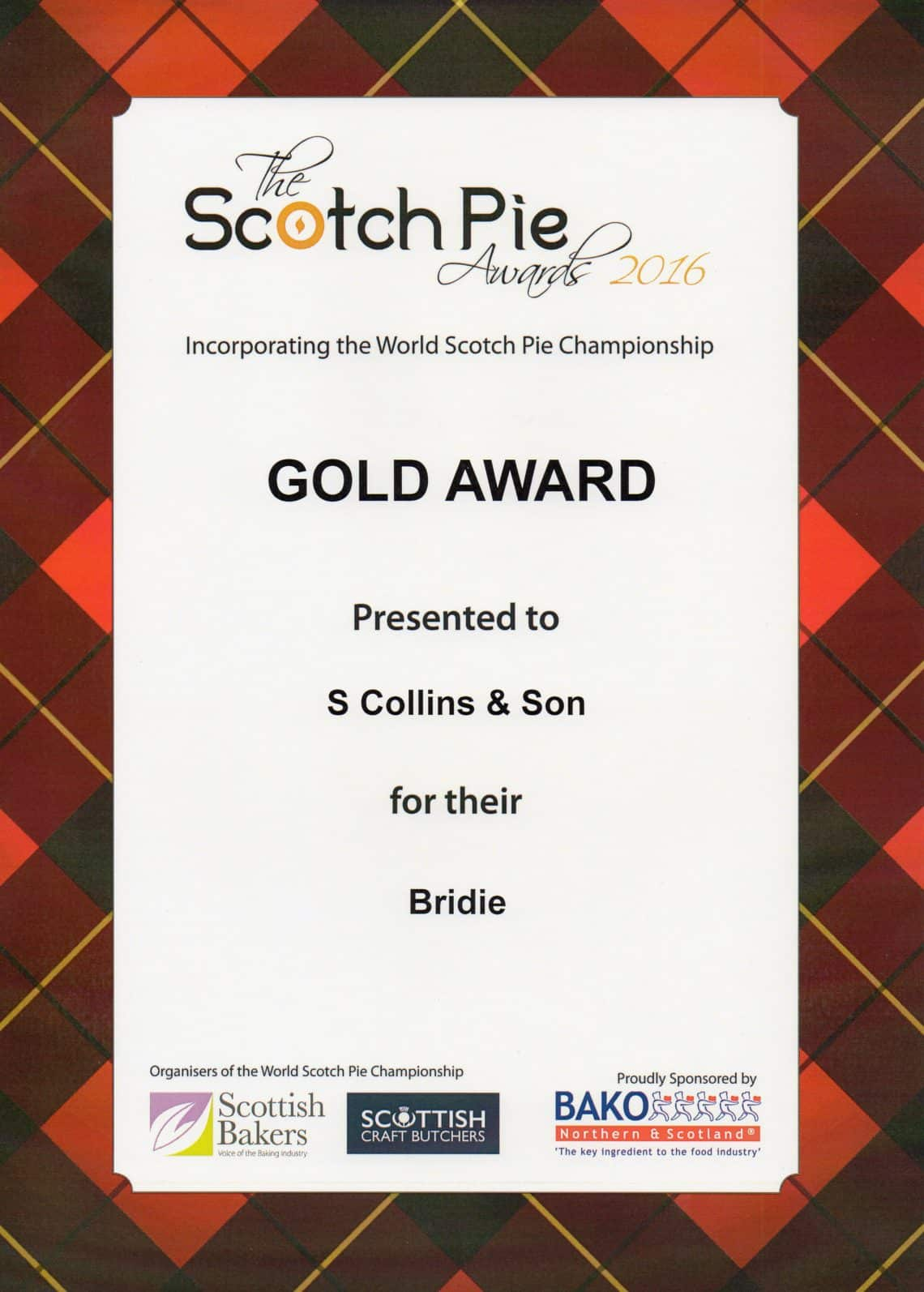 Scotch Pie 2016 Awards: Bridie