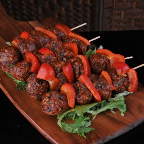 Mini meatballs with and African flavour glaze.