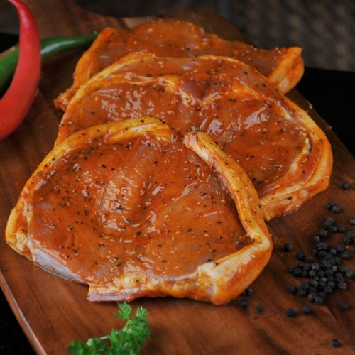 Lean boneless pork tenderloin marinated in a subtle chili sauce.