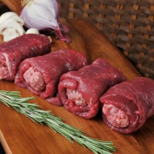 Prime Scotch Beef rolled in our tradional beef sausage. Oven cook.