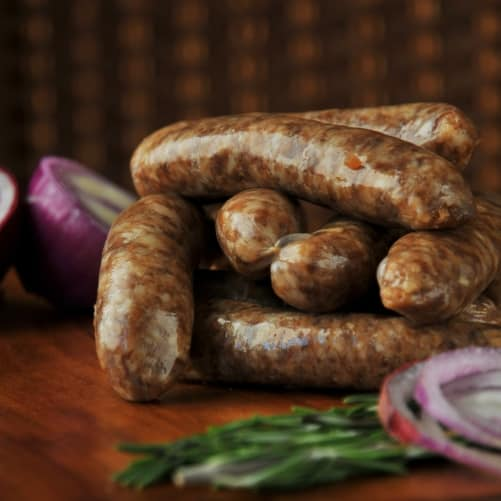 Our traditional pork links with the addition of carmElised onions.