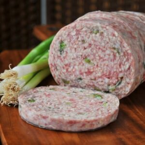 Our award winning pork round with finely chopped fresh spring onion.