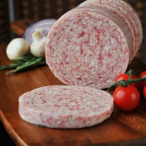 Pork sausage meat in round casing.