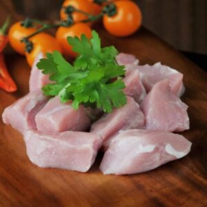 Lean cubes of diced pork.