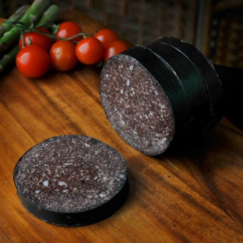 Our own make glutten free whole black pudding.