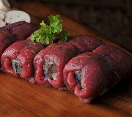 Our own make haggis wrapped in our finnest beef ham.