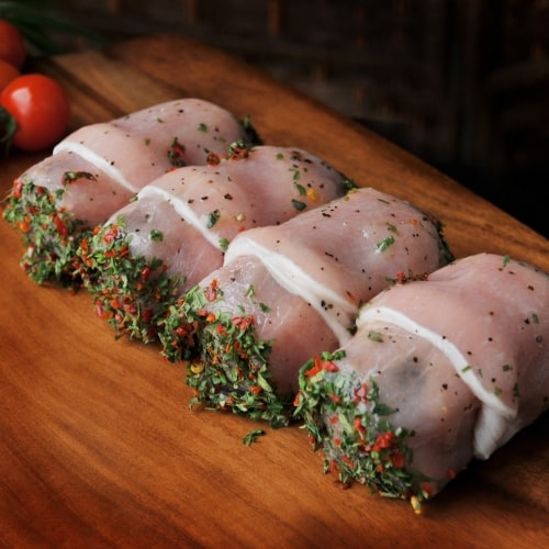 Our own make haggis wrapped in sweetcure bacon with sea salt and black lampong pepper glaze.