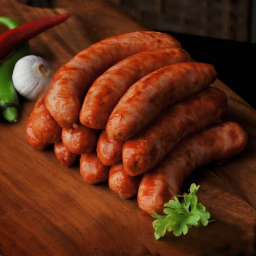 Pork links with a hot and spicy coating.