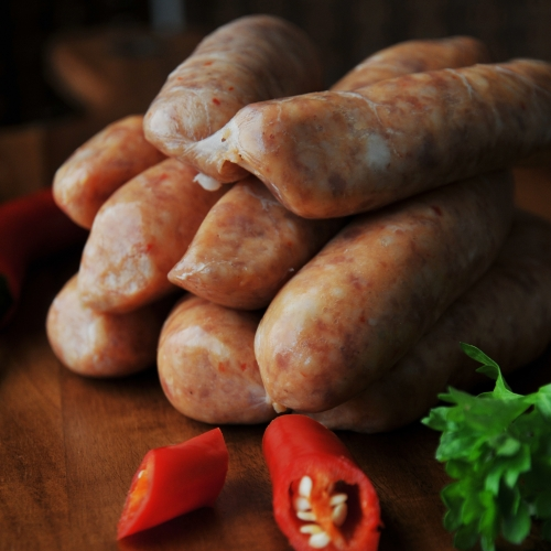 Our own make pork sausage with a sweet chili flavour!!!