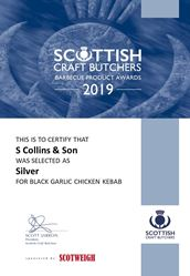 Black Garlic & Chicken Kebab: Scottish Craft Butchers - Ready to Cook Awards 2019
