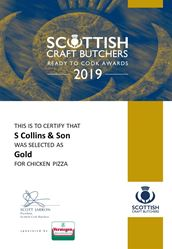 Chicken Pizza: Scottish Craft Butchers - Ready to Cook Awards 2019